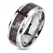 Black and Red Carbon Fiber Center Band Ring Stainless Steel