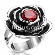 Red CZ Centered Fully Bloomed Rose Cast Ring Stainless Steel