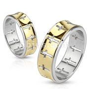 Stainless Steel Gold IP Die-Cut Cross Pattern Band Ring