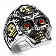 Skull Gold IP Accent with Red CZ Eyes Skull Cast Ring Stainless Steel