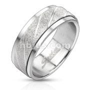 Two Tone Sand Blast FinishCenter Spinner Ring Stainless Steel