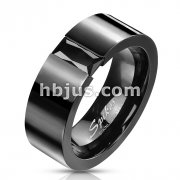 Stainless Steel Black IP Simple Band Ring with Rectagular Black Gem