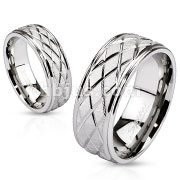 Diamond Groove Cut Engraved Two Tone Band Ring Stainless Steel