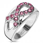 Stainless Steel Multi Paved Pink Awareness Ribbon Cast Band Ring