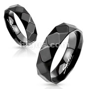 Large Diamond Faceted Black IP Stainless Steel Ring