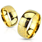 Stainless Steel Gold IP Laser Etched Lords Prayer Ring