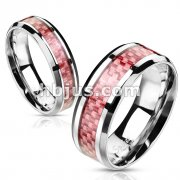 Stainless Steel Pink Carbon Fiber Inlay Band Ring
