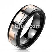Stainless Steel Black IP with Two Tone Square Link Pattern Spinner Band Ring