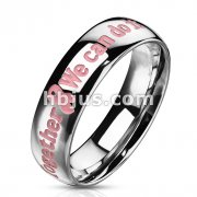 Stainless Steel Dome Band Ring with Pink Awareness Epoxy Letters