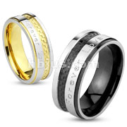 Forever Love Engraved Checkered IP Stainless Steel Ring
