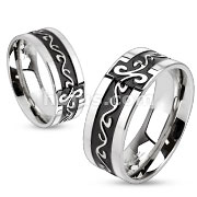 Stainless Steel Two Toned Black IP Grooved Tribal Swirls Band Ring