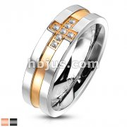 Stainless Steel Two Tone Cross Paved CZs Band Ring