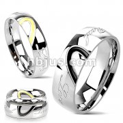 Stainless Steel Two Toned Heart with