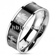 Stainless Steel Black IP Center with Two Male Symbols Ring