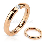Stainless Steel Rose Gold IP Band Ring with 3mm Tension Set CZ