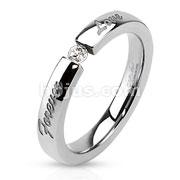 Forever Love Engraved Stainless Steel Band Ring with 3mm Tension set CZ