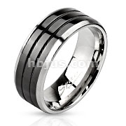 Stainless Steel Black IP Centered Triple Grooved Band Ring with Beveled Edges