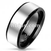 Stainless Steel Two Tone Beveled Edge Band Ring with Glossy Center