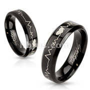 Stainless Steel Black IP with Heart Beat Laser Etched Band Ring