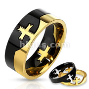 Stainless Steel Two Tone Cross Puzzle Ring