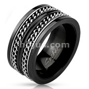 Layered Cuban Chains Stainless Steel Black IP Spinner Ring