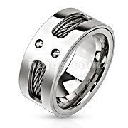 Double Wires Inlayed Stainless Steel Band Ring