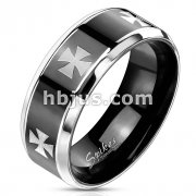Laser Etched Iron Cross Stainless Steel Black IP Center Band Ring with Beveled Edge