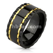 Wavy Edge Black IP Over Stainless Steel Spinner Ring with Gold IP Lines