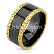 Gold IP Saw Blade Edged Stainless Steel Black IP Spinner Ring