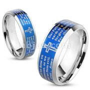 Lords Prayer Blue Gold IP Beveled Edge Stainless Steel Ring
