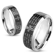 Lords Prayer Black IP Beveled Edge Stainless Steel Ring