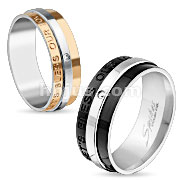 Lets Bless Our Love Engraved Two Tone IP Stainless Steel Ring