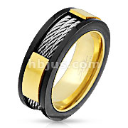Wire Centered Three Tone Stainless Steel Ring