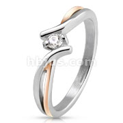 Two Tone Twisted Lines with Center CZ Stainless Steel Ring