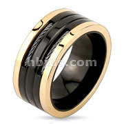 Two Wire in Slit Center Black & Rose Gold Stainless Steel Ring