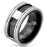 Two Tone Wire Center Stainless Steel Ring