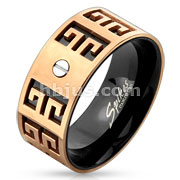 Two Tone Maze Bolt Stainless Steel Ring