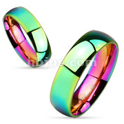Dome Rainbow Stainless Steel Couple Ring