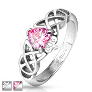 Tribal Heart with CZ Stainless Steel Cast Ring