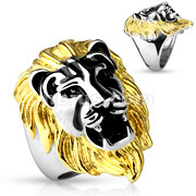 Gold Tone Lion Head Cast Ring 316L Stainless Steel