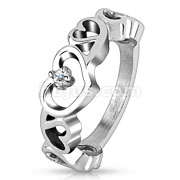 Hollow Heart with CZ Stainless Steel Ring
