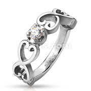 Six Vintage Heart with Clear CZ Stainless Steel Ring
