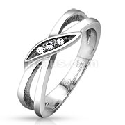 Tied with 3 Gem Set Center Stainless Steel Ring