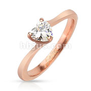 Heart CZ Rose Gold IP Stainless Steel Ring