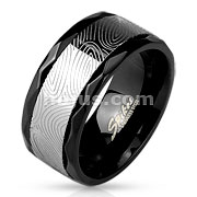 Mokume Gane Spinner Center with Faceted Edges Black IP Stainless Steel Ring