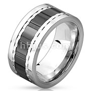 Multi Grooved Two Tone and Three Part Black IP Spinner Stainless Steel Ring