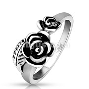 Two Rose and Leaf Stainless Steel Cast Ring