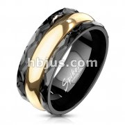Black Facet Edge and Gold IP Center Stainless Steel Spin Ring