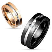Two Tone Center Line with Clear CZ and Engraved Sides Stainless Steel Couple Ring