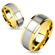 Step Edge and Soft Brushed Metal Center Flat Band Gold IP Stainless Steel Couple Ring